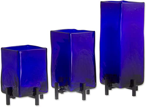 NOVICA Artisan Crafted Hand Blown Blue Glass Rectangular Vases from Mexico Blue Hurricane Set of 3