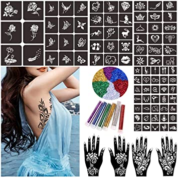 Amazon Com Glitter Henna Tattoo Stencils Kit Temporary Tattoo
