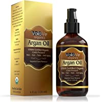 VoilaVe USDA and ECOCERT Pure Organic Moroccan Argan Oil for Skin, Nails & Hair Growth, Anti-Aging Face Moisturizer…