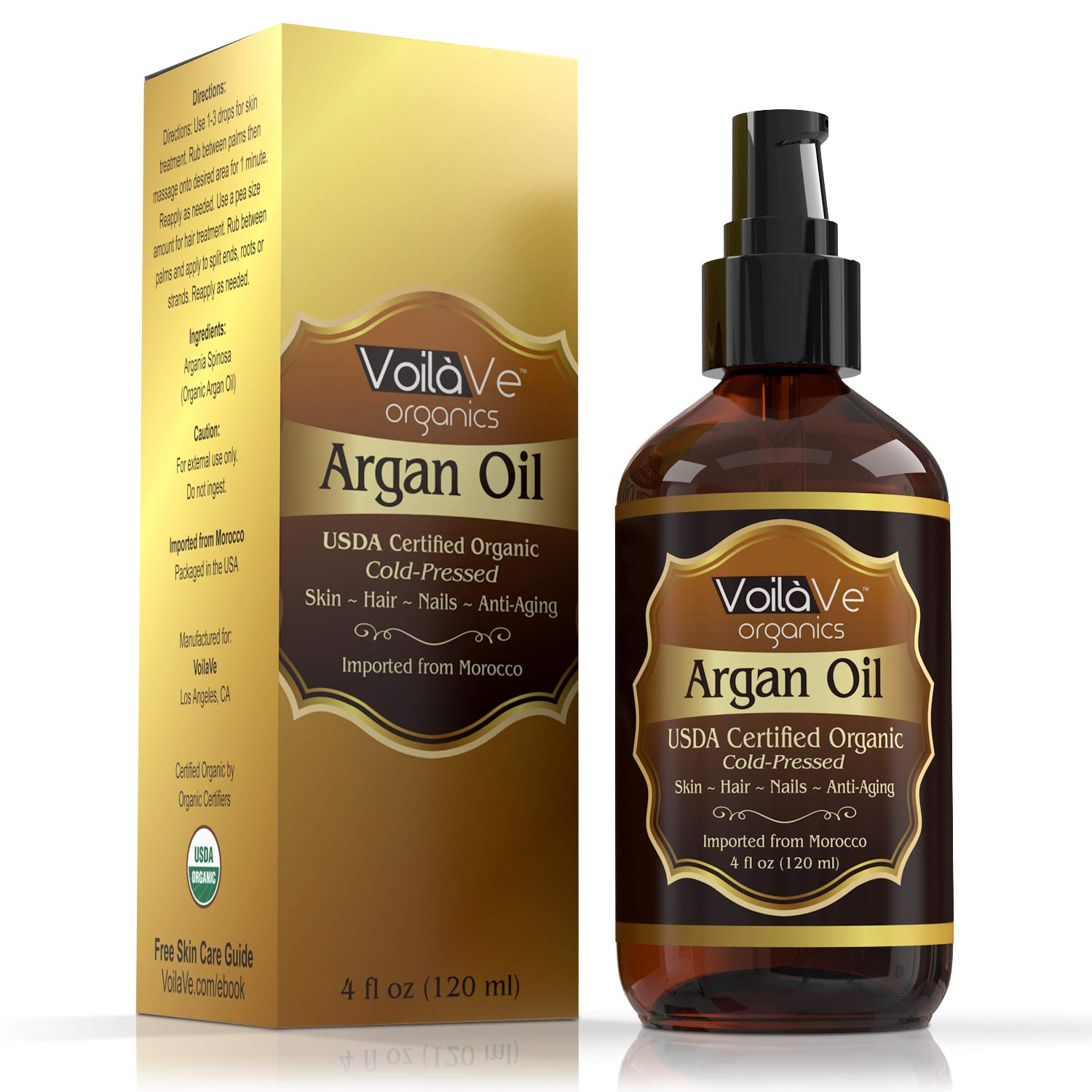 VoilaVe USDA and ECOCERT Pure Organic Moroccan Argan Oil for Skin, Nails & Hair Growth, Anti-Aging Face Moisturizer, Cold Pressed, Hair Moisturizer, Rich in Vitamin E & Carotenes, 4 fl oz by VoilaVe