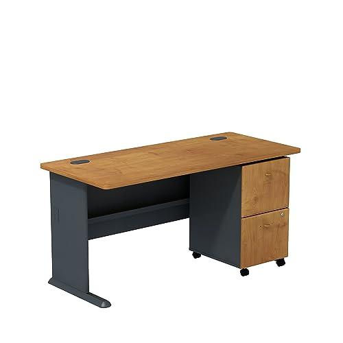 Bush Business Furniture Series A 2 Drawer Mobile Pedestal Desk, 60 , Natural Cherry