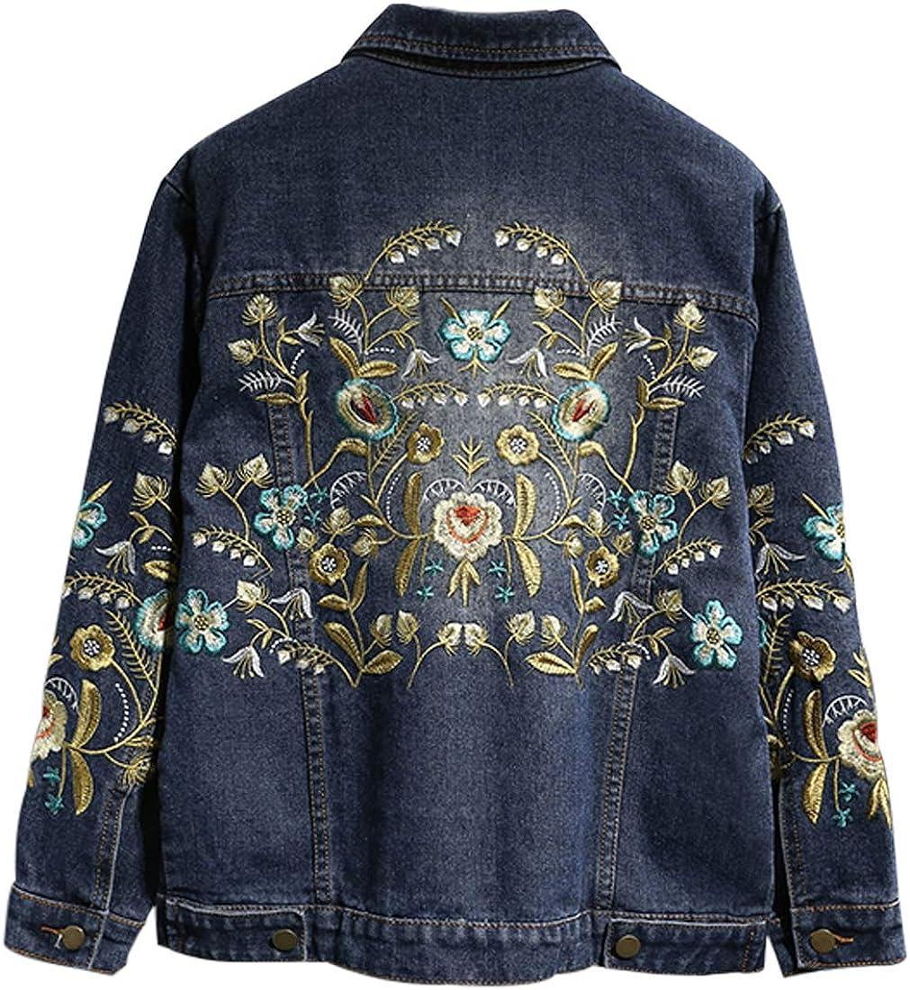 Jenkoon Womens Button Front Jean Jacket Floral Embroidery Denim Jacket