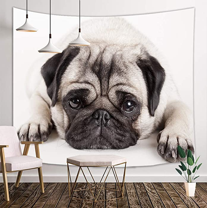 KOTOM Dog Lover Tapestry Wall Hanging, Animals Decor Pug Puppy Lying Down, Tapestries Art Home Decor Bedroom Living Room Dorm TV Backdrop, 80X60 Inches