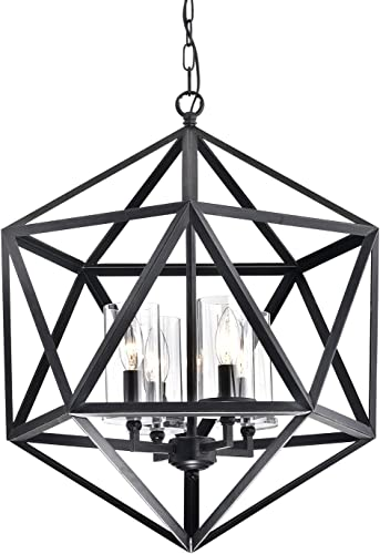 Edvivi 4-Light Geometric Iron Antique Black Glass Shade Cage Chandelier Modern Farmhouse Lighting