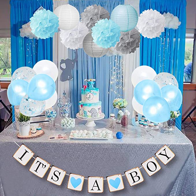 Decoracion De Baby Shower Para Nino.Baby Shower Decorations For Boy Blue And Gray With It S A Boy Banner Confetti Balloons And Cake Topper Elephant Boy Baby Shower