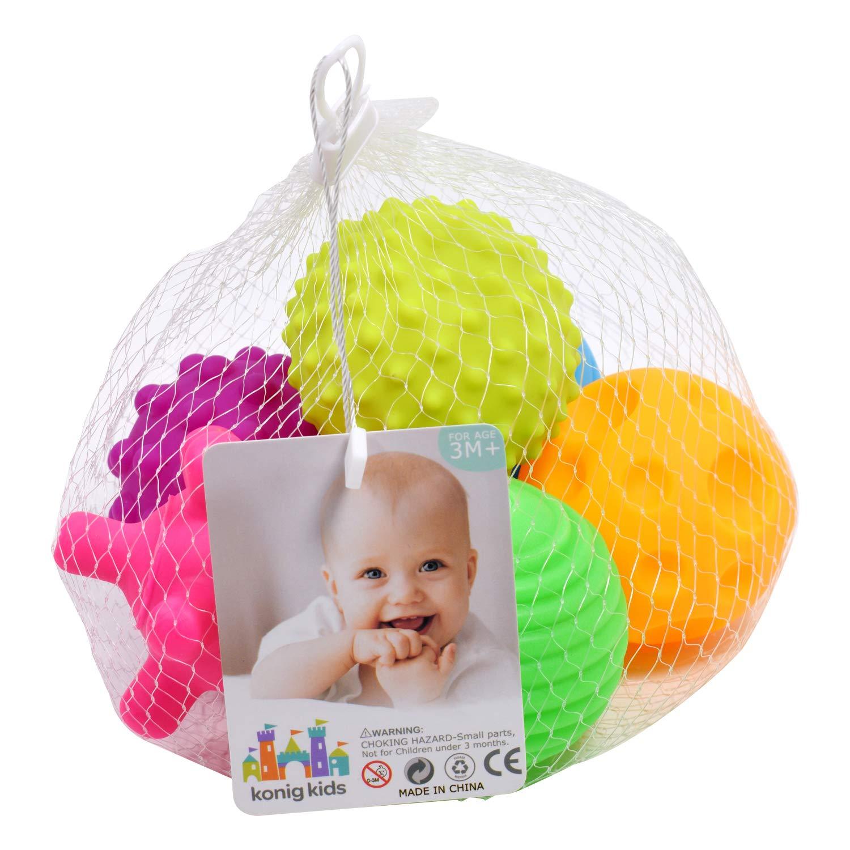 Konig Kids Jeu de 6 Ballons de b/éb/é Multicolores textur/és et sans Touches sensorielles BPA-Free