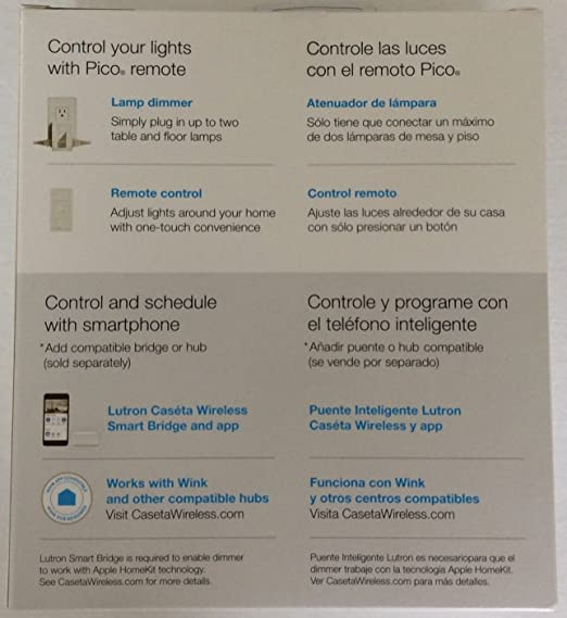 Lutron Caseta Wireless Smart Lighting Switch for All Bulb Types and Fans PD-5ANS-WH-R, White