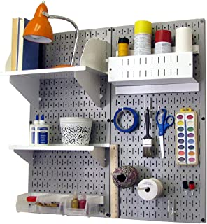 product image for Wall Control Pegboard Hobby Craft Pegboard Organizer Storage Kit with Gray Pegboard and White Accessories