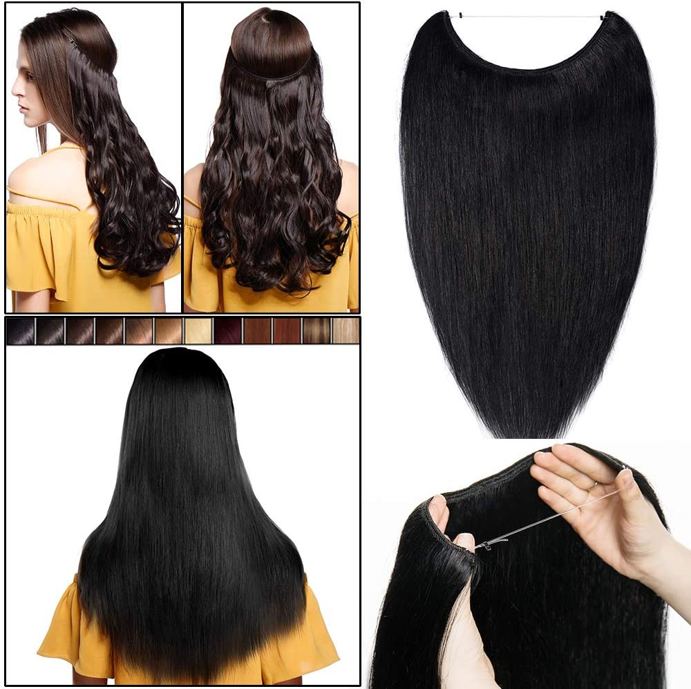 Elailite Una pieza de extensiones de cabello 100% humano del pelo del alambre en secreto Sin clip real Remy Natural Cabello liso elástico invisible ...