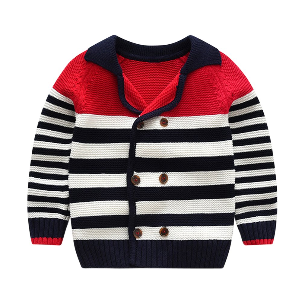 Tortor 1Bacha Little Boys' Stripe Double Breasted Cardigan Sweater Red 2T