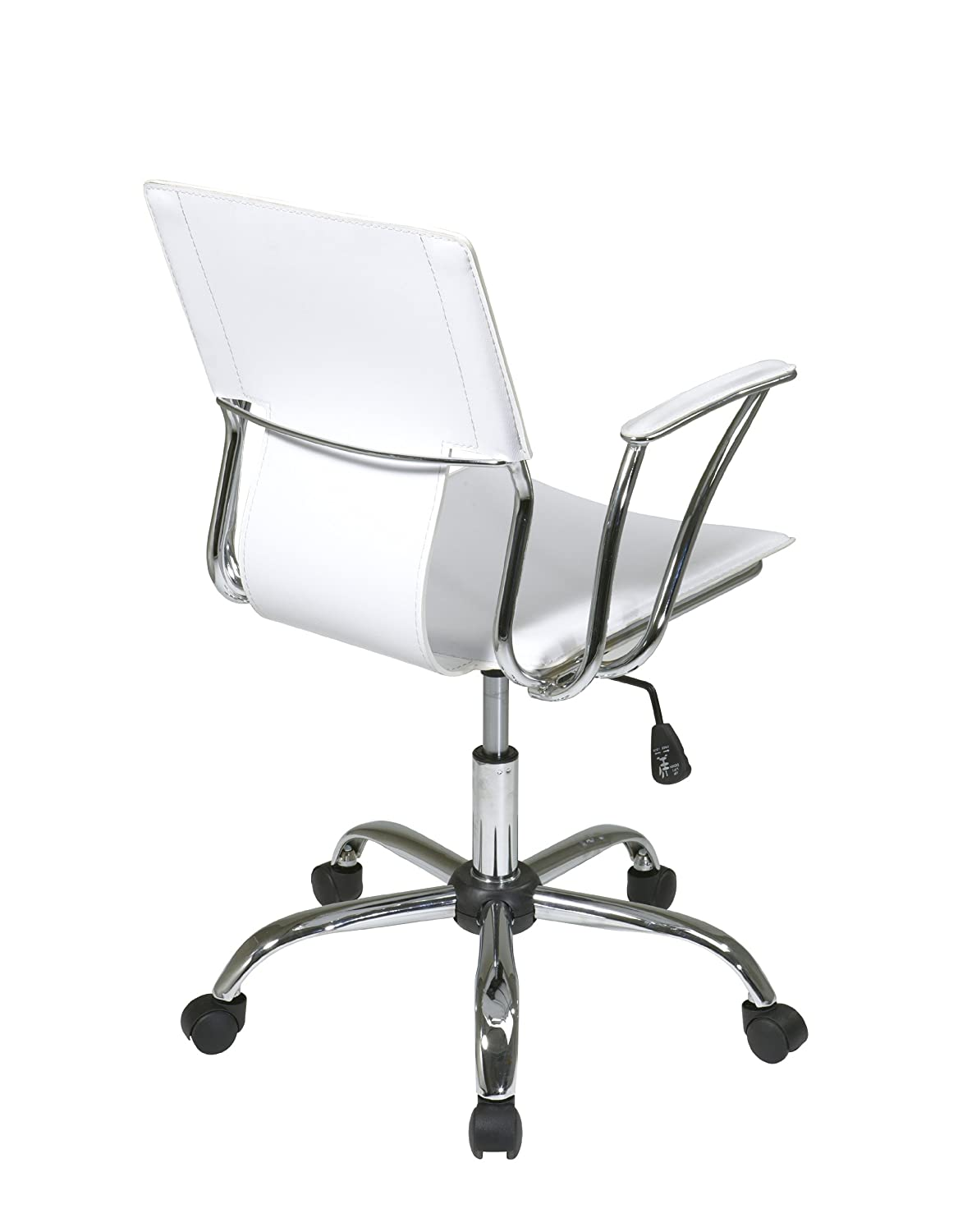 white modern office chair white rolling. Amazon.com: AVE SIX Dorado Contour Seat And Back With Built-in Lumbar Support Adjustable Office Chair, White: Kitchen \u0026 Dining White Modern Chair Rolling E