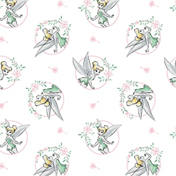 Amazon.com: Disney Tinkerbell Floral Frame in White Fabric by the Yard