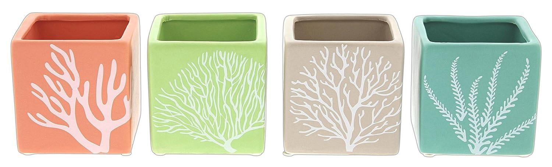 "Set of 4 Lucky Winner 3.5"" Coastal Motif Ceramic Cube Planters in Pink, Green, Brown & Teal"