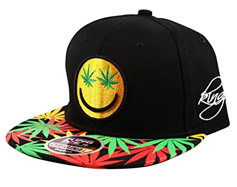 a01db8e77a91b King Ice Weed Leaf Smiley Snapback Baseball Cap Hat Ganja Emoji Rasta in  Black Red Yellow