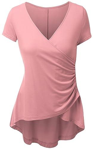 DKBAYA Mujeres Túnica Asimétrica Camisa de Manga Corta de V-Cuello Camiseta Blusa de Estiramiento