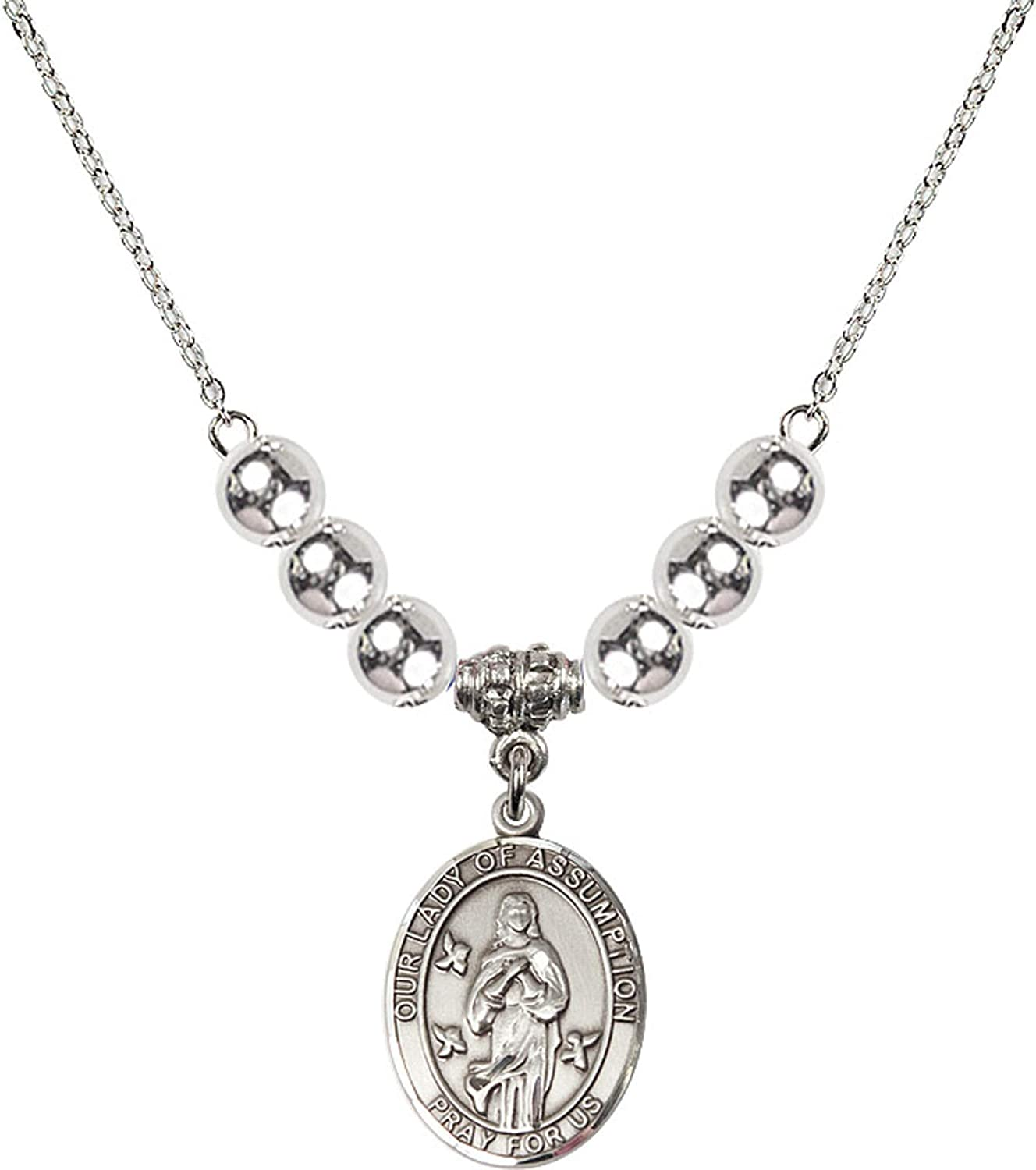 Bonyak Jewelry 18 Inch Rhodium Plated Necklace w// 6mm Sterling Silver Beads and Our Lady of Assumption Charm
