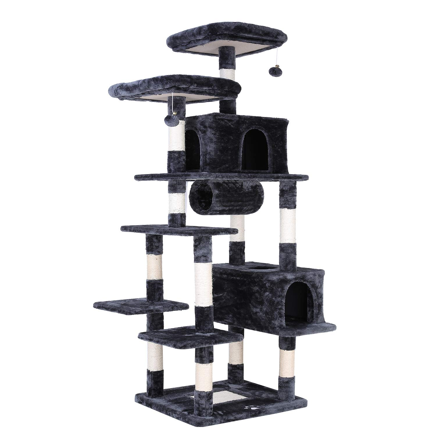 POTBY 80'' Multi-Level Cat Tree Large Play House Climber Activity Centre Tower Stand Furniture, with Scratching Posts, Dangling Ball,Condo and Tunnel, Anti-toppling Device,Suit for Kittens Cats and Pet by POTBY