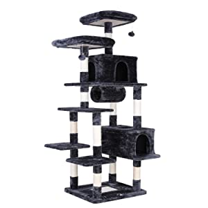 """POTBY 80"""" Multi-Level Cat Tree Large Play House Climber Activity Centre Tower Stand Furniture, with Scratching Posts, Dangling Ball,Condo and Tunnel, Anti-toppling Device,Suit for Kittens Cats and Pet"""