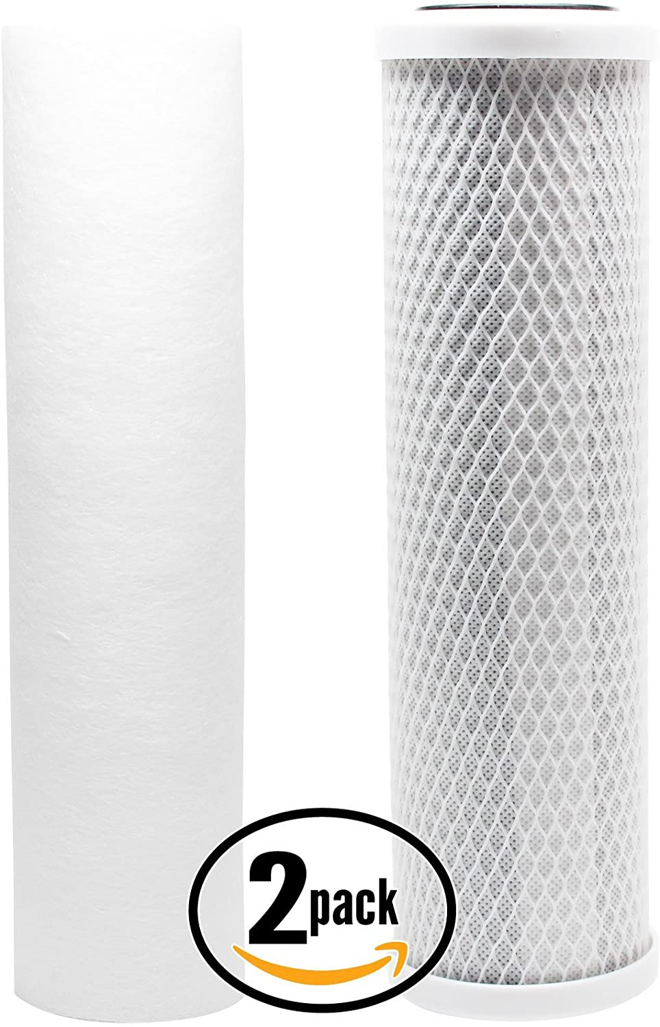 2-Pack Replacement Filter Kit Compatible with Watts WP-2 LCV RO System - Includes Carbon Block Filter & PP Sediment Filter - Denali Pure Brand
