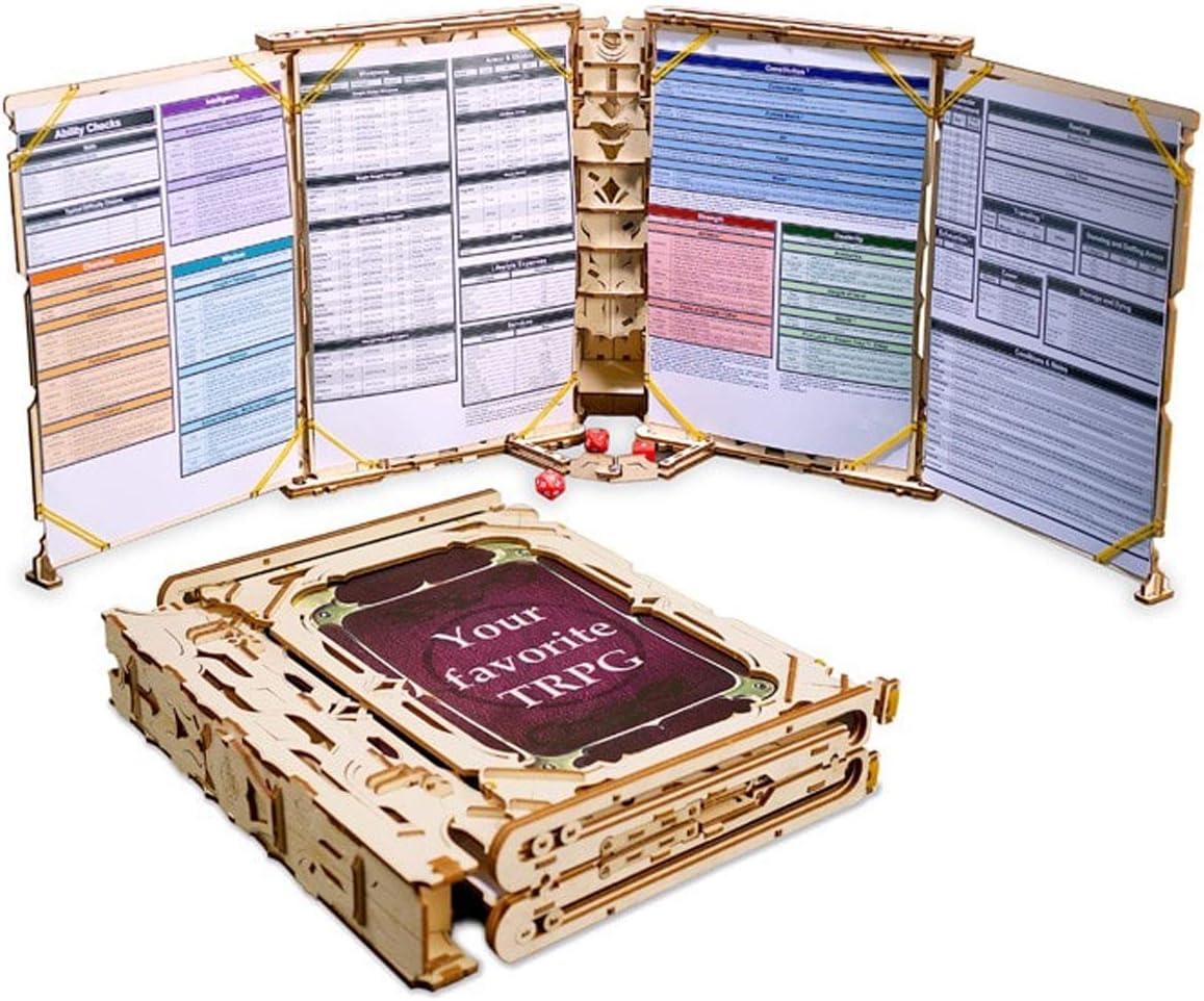 UGEARS Modelo Mecánico Puzzle 3D - Pantalla del Director de Juego - Game Master Screen Juego de Cartas Tarjetas Dados - GM Screen Maquetas para Construir Adultos Juegos de Mesa Rompecabezas Adultos