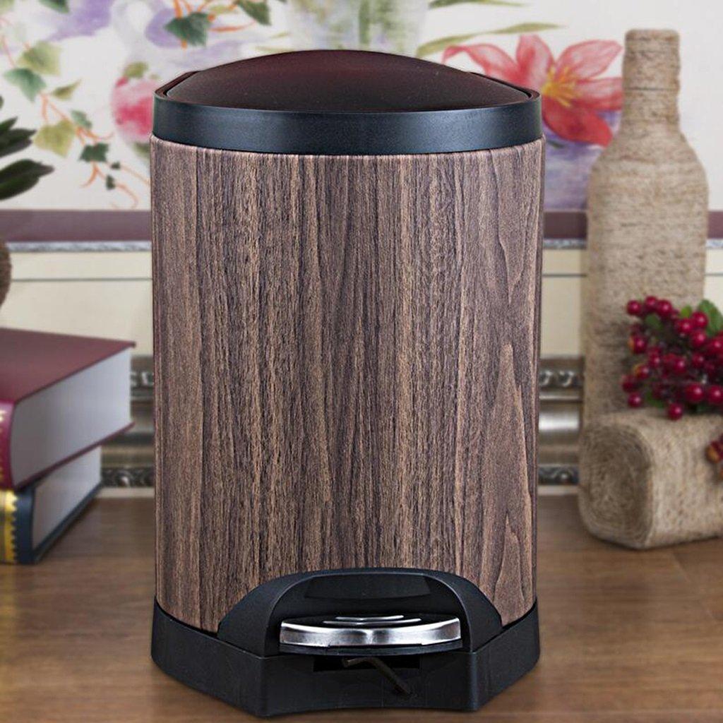 Wddwarmhome Holzkorn reines Farbenmuster mit einem Mülleimer Wohnzimmer Pedal Kreative Toilette Toilette Clamshell Mülleimer Retro Mülleimer Füße bedeckt mit Mülleimer Leder Material Abfalleimer ( größe : 10L )