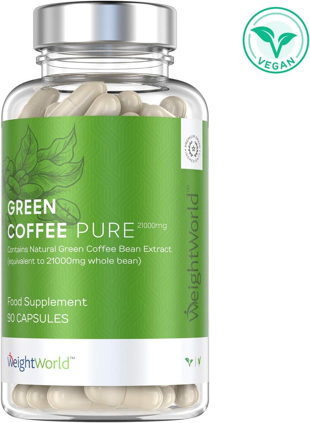 Café Verde Puro, Potente Fórmula 7000 mg - Suplemento Para Perder Peso y Antioxidante, Quemagrasas Natural, Reactiva metabolismo para adelgazar