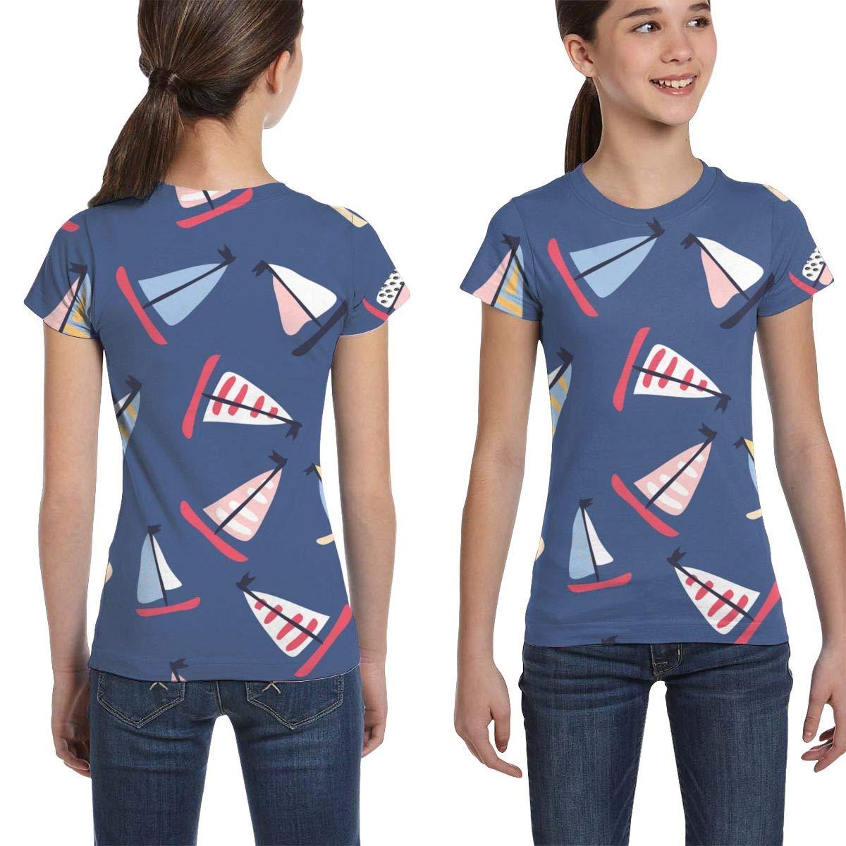 XS-XL L6Nv4o@A Girls Short Sleeve Sailing Yachts T-Shirts Casual Blouse Clothes