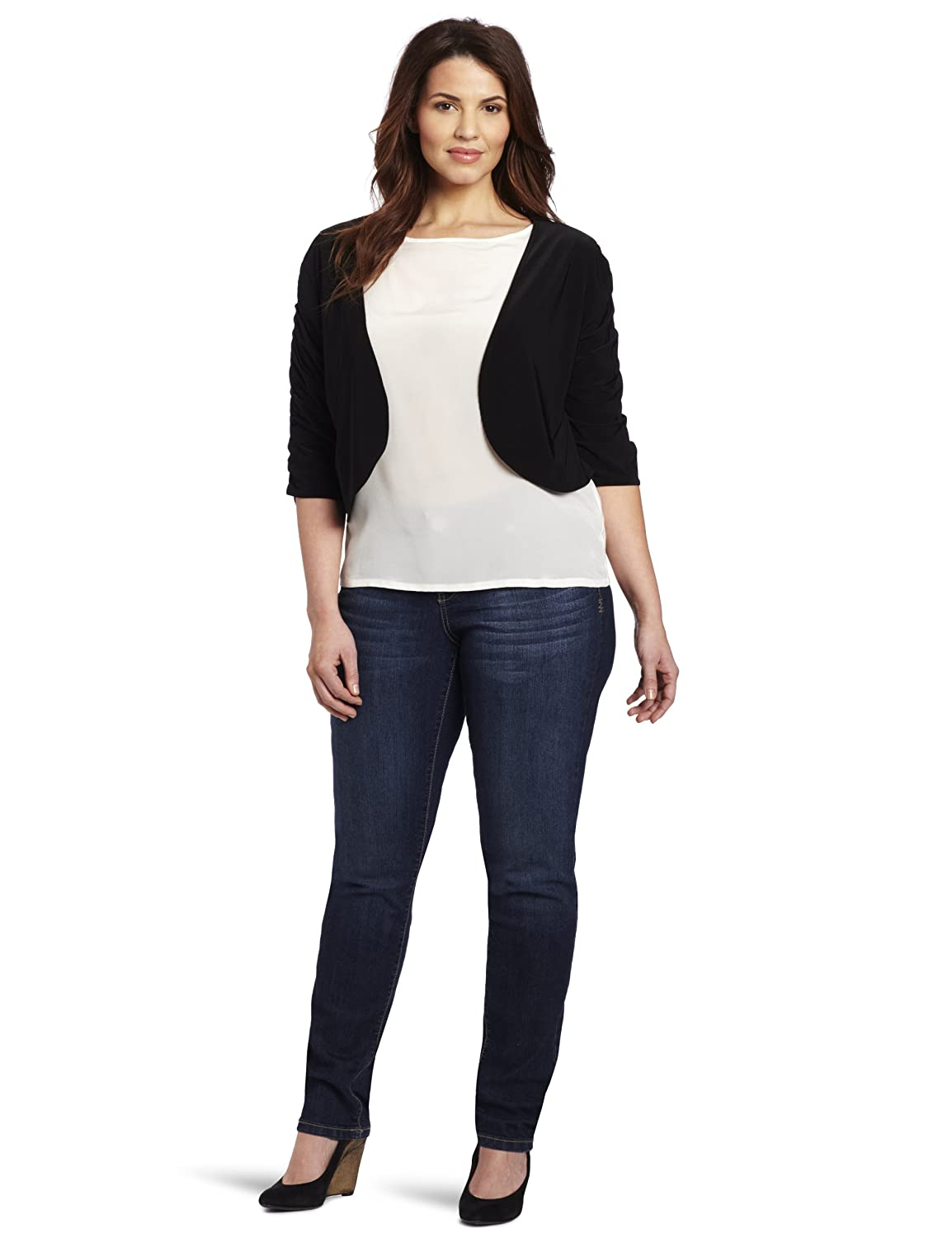 Star Vixen Women's Plus-Size Rouched Sleeve Bolero Sweater Star Vixen Child Code 5201-IT-X