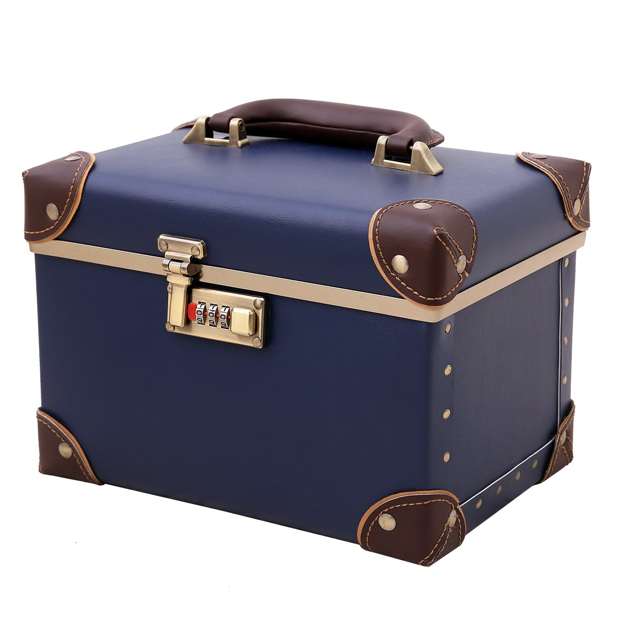 Portable Makeup Train Case Double Layer Cosmetic Bags Leather Toiletry Case for Women Retro Blue 15''