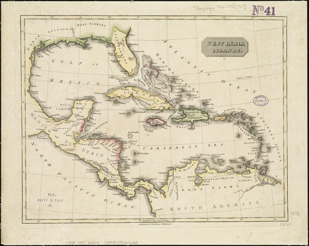 Historic Map   1785 West India islands   Antique Vintage Reproduction