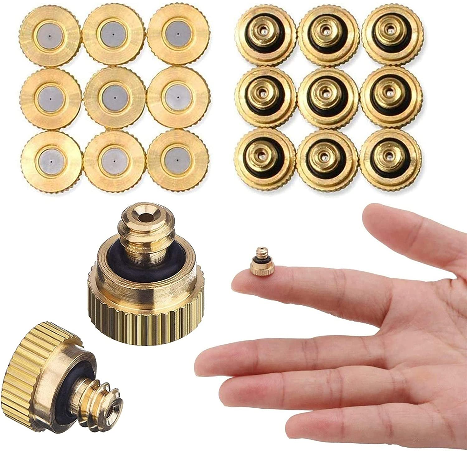 JFSXXZXWA Brass Misting Nozzles Kit Low Pressure Fogging Spray Head 10/24 for Cooling System Mister Nozzles Fog Nozzles for Patio Misting System Outdoor Cooling System Garden Water Mister (18Pcs)
