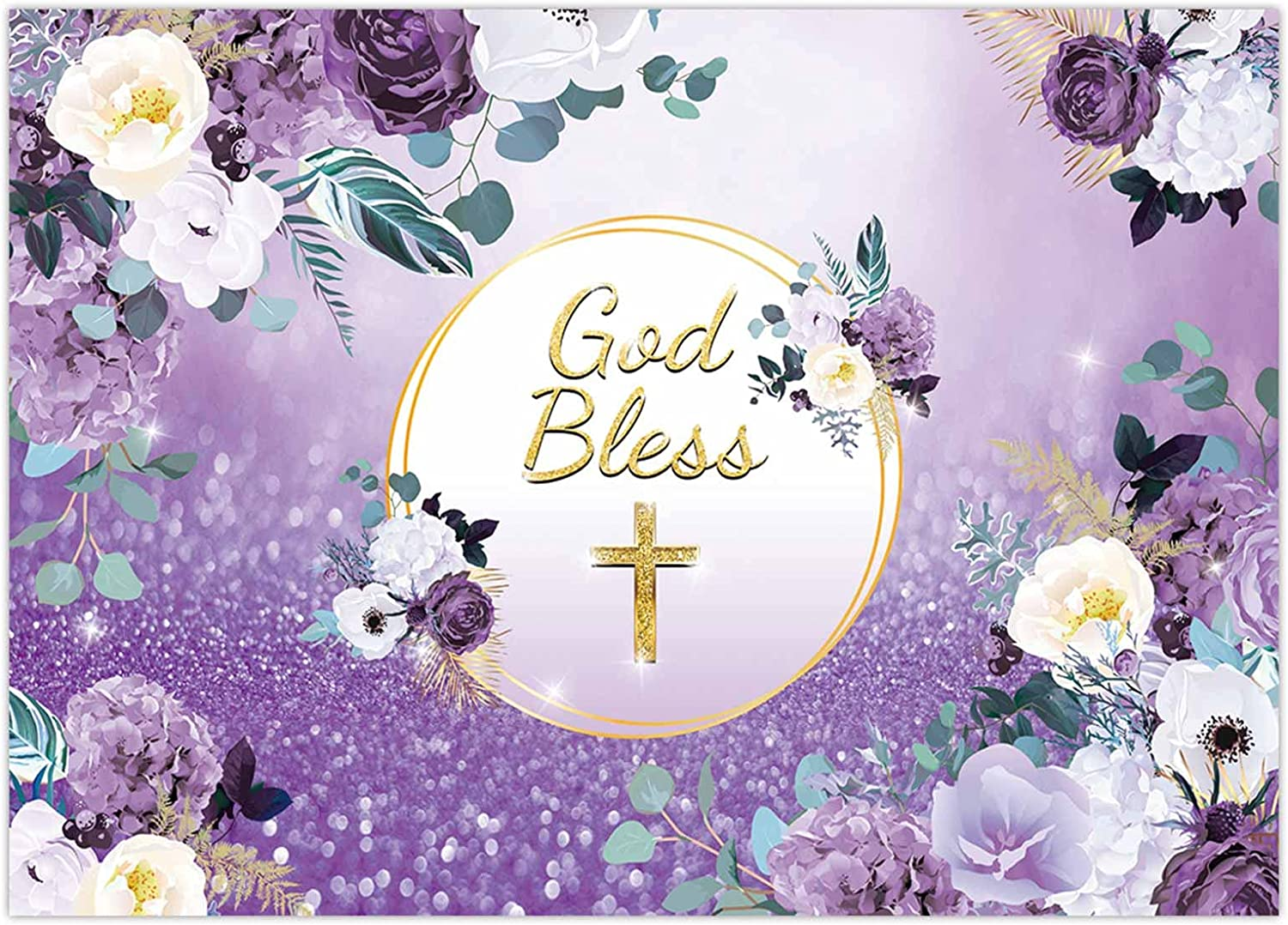 Funnytree 7x5FT God Bless Backdrop Baptism Party Girl First Holy Communion Christening Banner Decor Purple Floral Birthday Baby Shower Background Favors Gifts Supplies Photo Booth Props