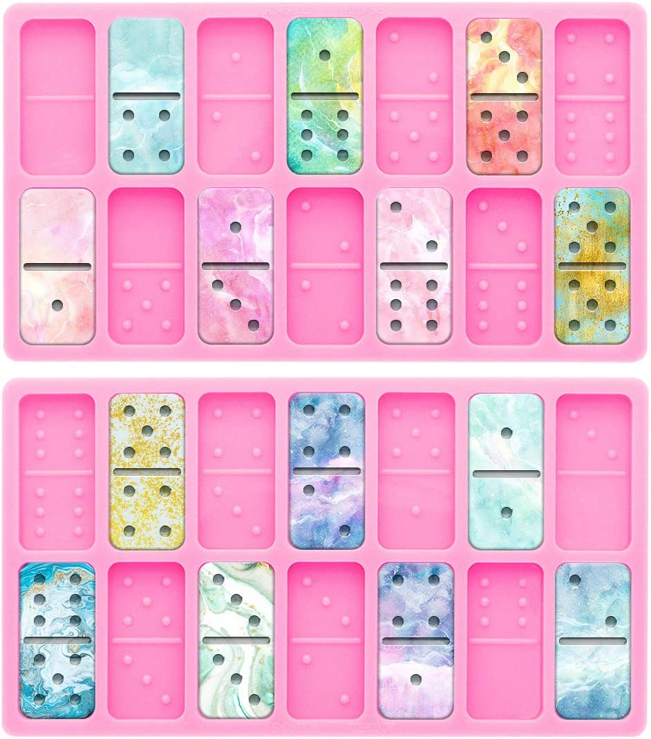 Domino Silicone Molds for DIY Personalized Dominoes Dominoe Games Fun Craft Making Tool Eco-Friendly Non-Stick Easy to Separate Resin Molds Domino