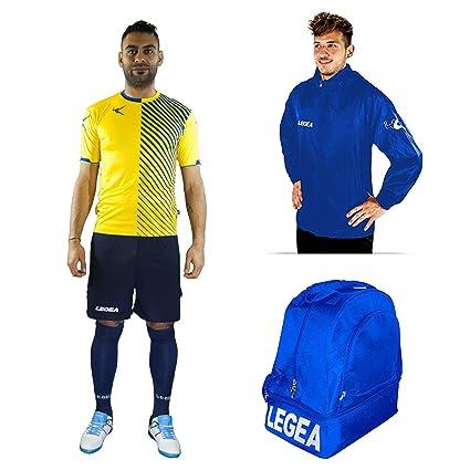 eab8e9eb2014 LEGEA Kit Calcio Braga Calza + Borsone E K-Way Calcetto Allenamento  Completino- Borsa- Impermeabile: Amazon.it: Sport e tempo libero