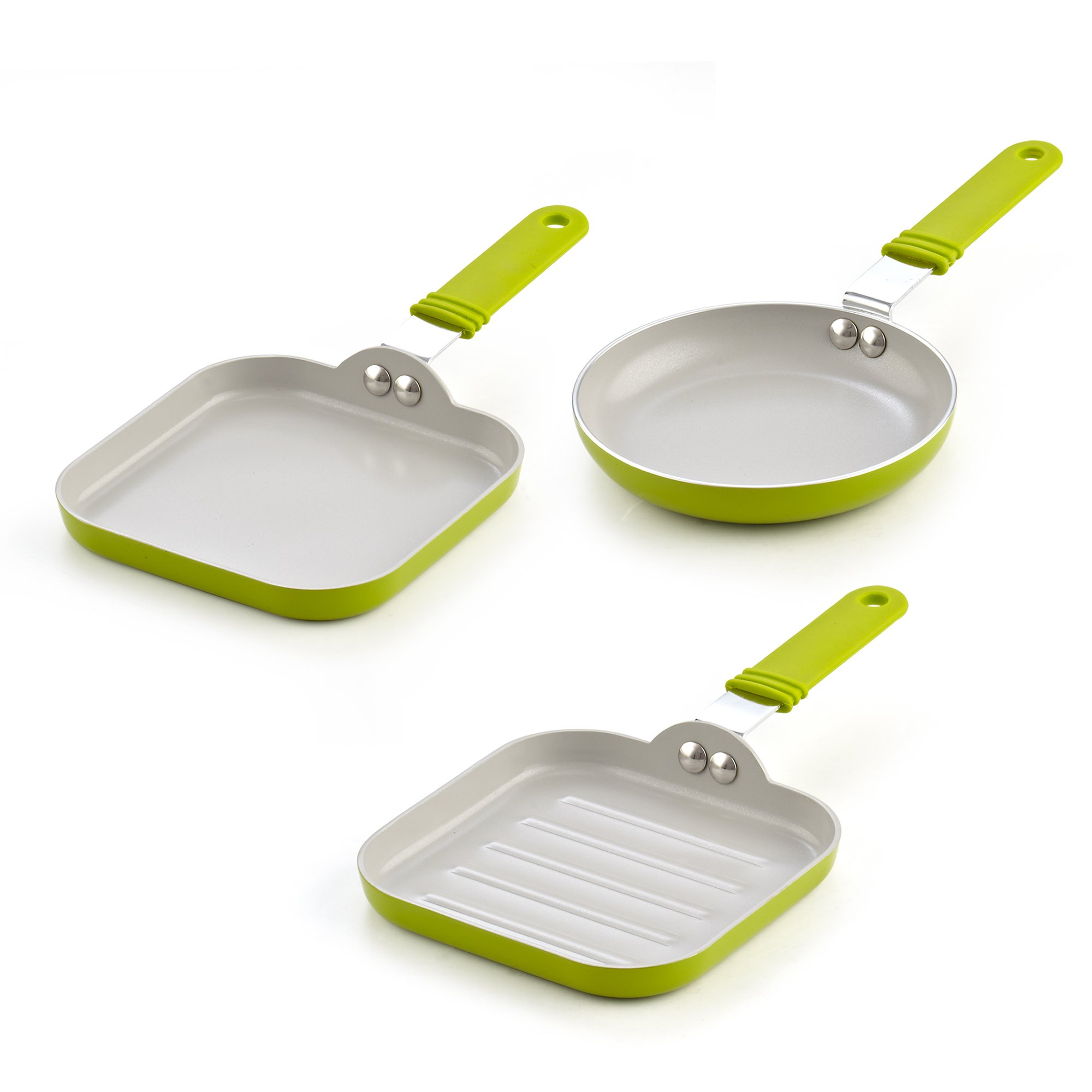 Cook N Home 02583 5.5-Inch Nonstick Ceramic Mini Fry, Griddle, Grill 3-Piece Pan Set, Green by Cook N Home