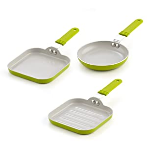 Cook N Home 02583 5.5-Inch Nonstick Ceramic Mini Fry, Griddle, Grill 3-Piece Pan Set Green