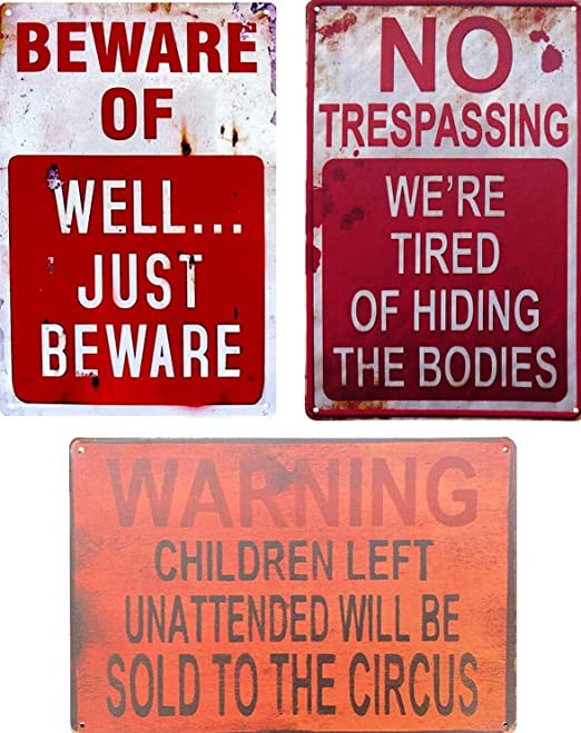 Vintage Retro Wall Decor Tin Signs,Beware of Zombies Decorative Metal Sign for Home,Pub,Cafe and Hotel 8 x 12 inches