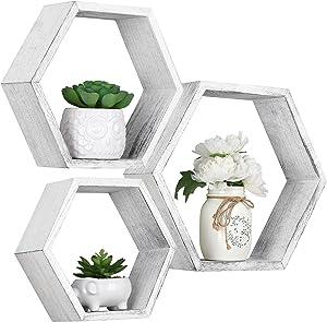 Hexagon Floating Shelves Wall Mounted, Set of 3 Honeycomb Wood Shelf Storage Farmhouse Home Decor for Bathroom, Kitchen, Bedroom, Living Room, Office