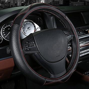 schwarz Auto Lenkr/äder Bezug aus echtem Leder