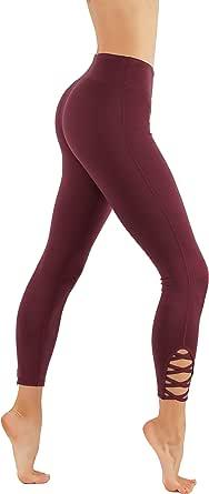 CodeFit Yoga Pants Power Flex Dry-Fit with CRIS Cross Leg Cutouts 7/8 Length Soled Color Leggings Key Pocket