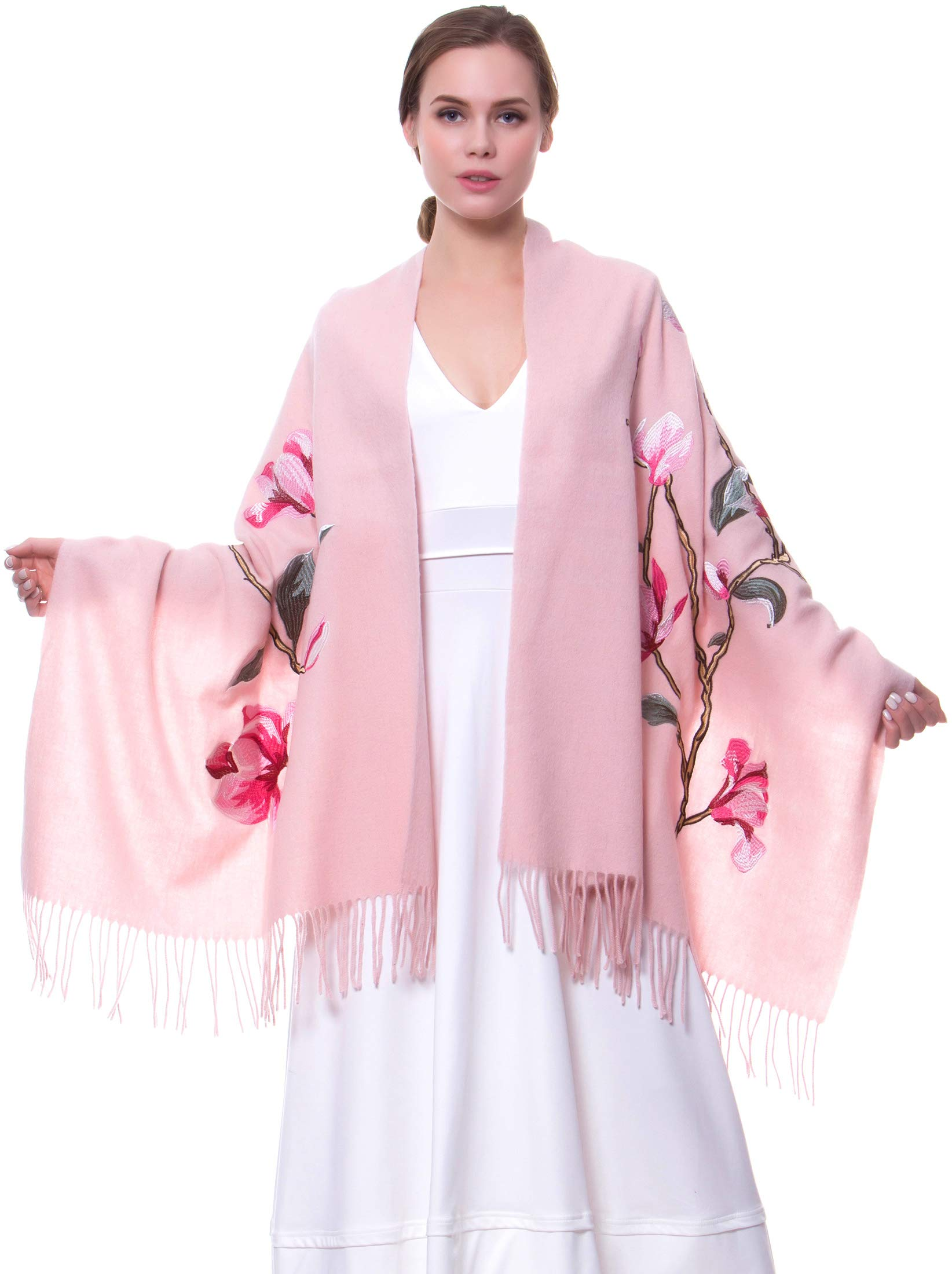 MORCOE Women's Exotic Design Wool Delicate Embroidered Soft Fringe Long Scarf Wrap Ladies Party Shawl Valentines Day Gift (Style 2:Pink)