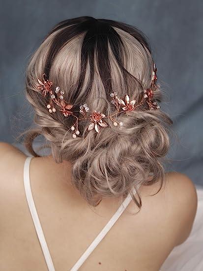 Fxmimior Bridal Rose Gold Leaf Hairbands Wedding Hair Accessories Bride Hair Jewelry For Women Headpiece Tiara Bridal Headband Wedding Rose Gold Hair Accessories For Women Amazon Co Uk Beauty
