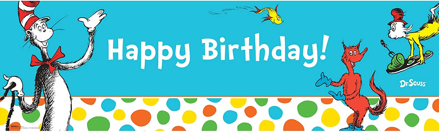 Cat In The Hat Personalized 6x2 Vinyl Birthday Banner Free Shipping
