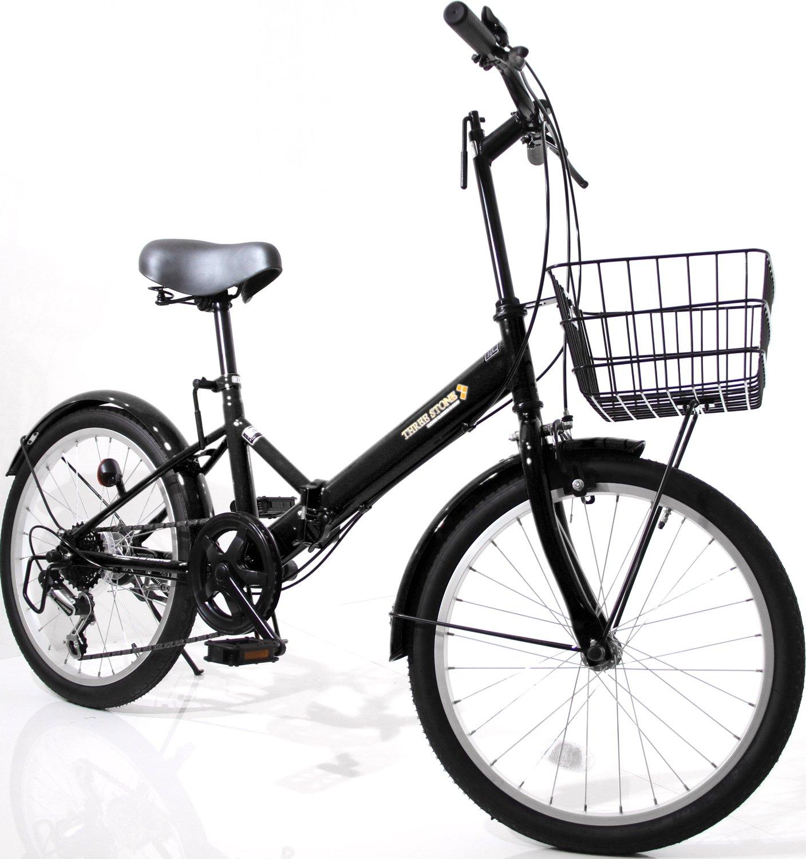 カゴ付 20インチ 折りたたみ自転車 AJ-08-T シマノ外装6段ギア ワイヤーロック錠フロントLEDライト付属 (ミニベロ/折り畳み自転車/軽快車/自転車) B07CNVD74W ブラック ブラック