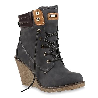 Stiefelparadies Damen Keilstiefeletten Warm Gefüttert Flandell  Amazon.de   Schuhe   Handtaschen 14b569e8db