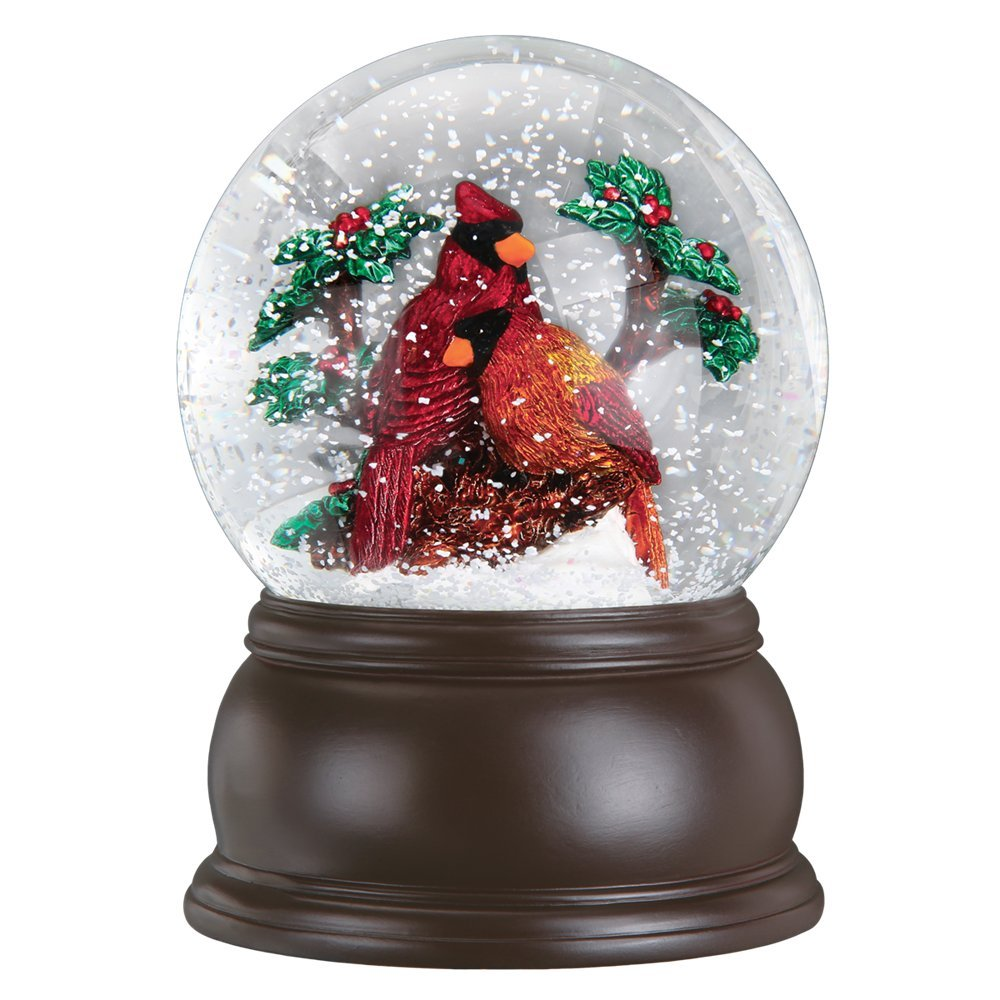 Old World Christmas Pair of Cardinals Snow Globe