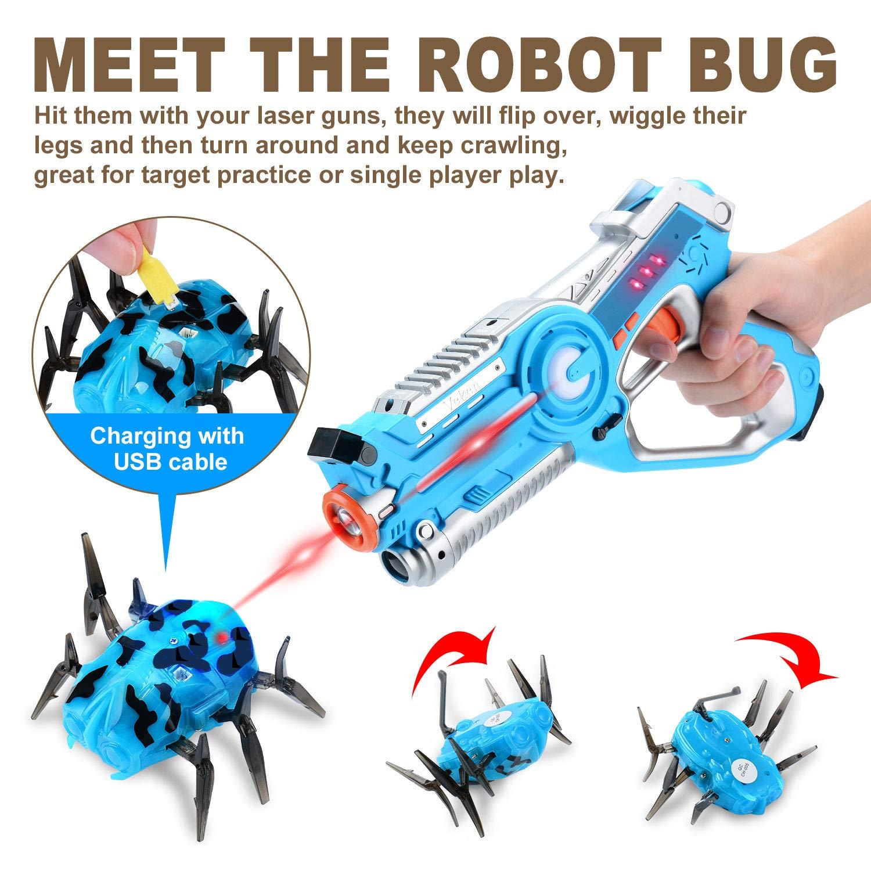 Veken Laser Tag Set with 4 Pack Infrared Laser Tag Guns 2 Robot Bug 1 Carrying Case for Kids Multiplayer Indoor Outdoor Game - Infrared 0.9Mw by Veken (Image #5)