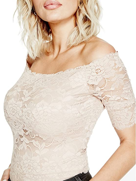 49b110467850 GUESS Women s Dara Off-The-Shoulder Lace Bodysuit  Amazon.in  Clothing    Accessories