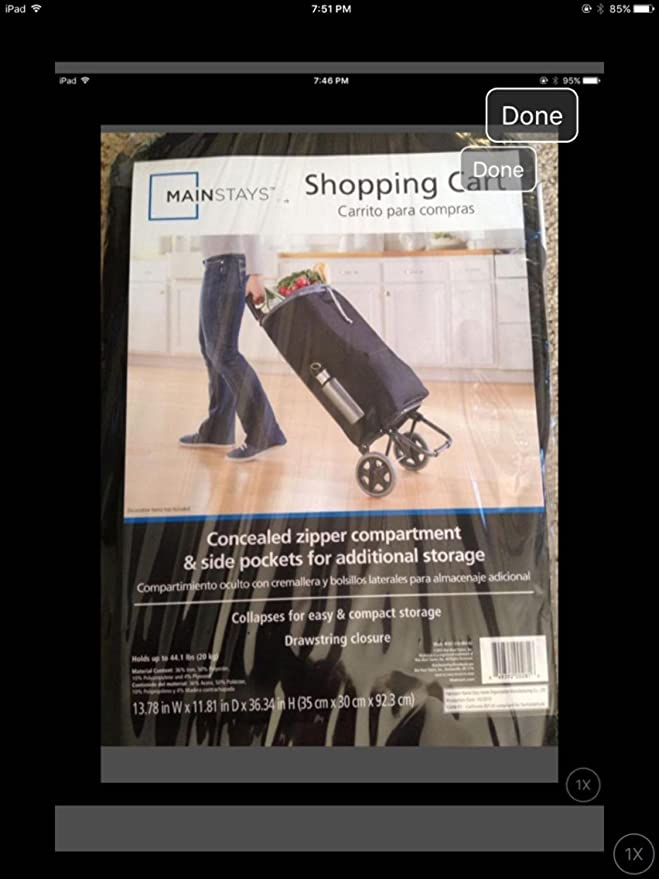 Amazon.com: Mainstay Shopping Cart with Concealed zipper & side pocket for additional storage: Toys & Games