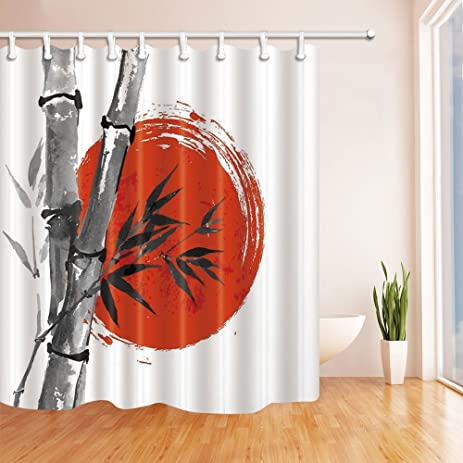 Traditional Chinese Painting Bamboo And Red Sun Shower Curtains By JAWO  Bath Curtains,69X70 Inches